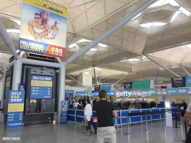 The scene at the Ryanair check-in desks at London Stansted Airport, Essex. Ryanair has been accused by the aviation regulator of failing to respond...