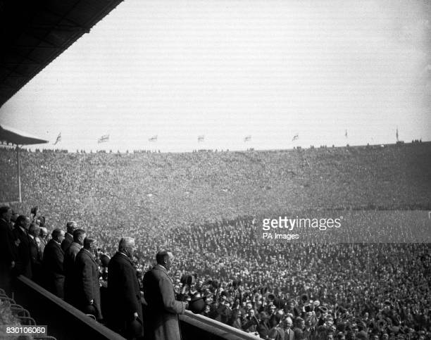 The scene at Wembley Stadium for the FA Cup Final football match between Bolton Waderers and West Ham United in 1923. On the left is seen the King...