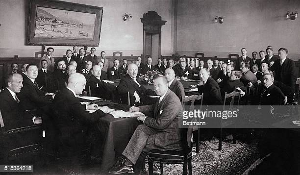 The scene during the memorable session in the Palace of Justice at Locarno Switzerland when Germany France Belgium Italy and Great Britain signed...