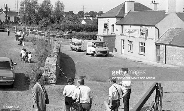 The scene following the raid on Drumree Post Office Co Meath in which Detective Garda Frank Hand was killed Photographer Tom Burke 10/8/1984