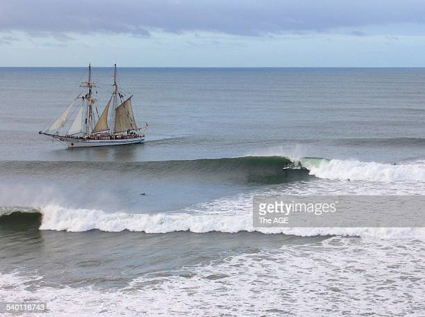 The scene from another era off Bells Beach yesterday Bells Beach yesterday Must credit 'image courtesy swellnetcomau/Davies' The Age 5th May 2006