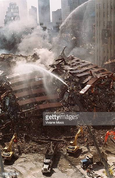 The scene from Ground Zero in lower Manhattan following the terrorist attack that leveled the World Trade Center. Firefighters fighting the...
