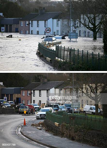 COMPOSITE IMAGE In this composite a comparison has been made between Gote Road in Cockermouth photographed on December 6 2015 and on December 8 2015...