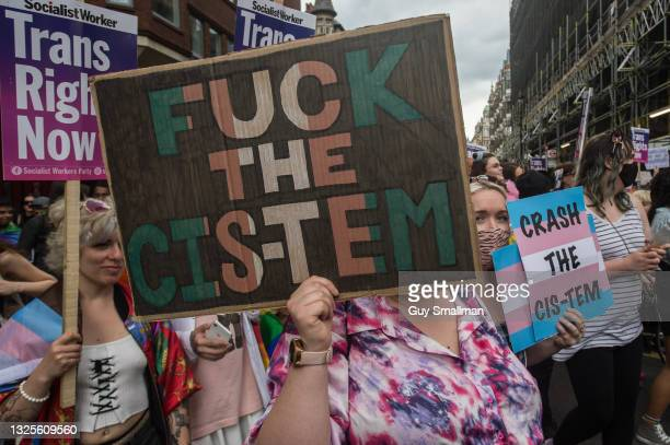 The scene in Soho as thousands attend the third Trans Pride march on June 26, 2021 in London, England.