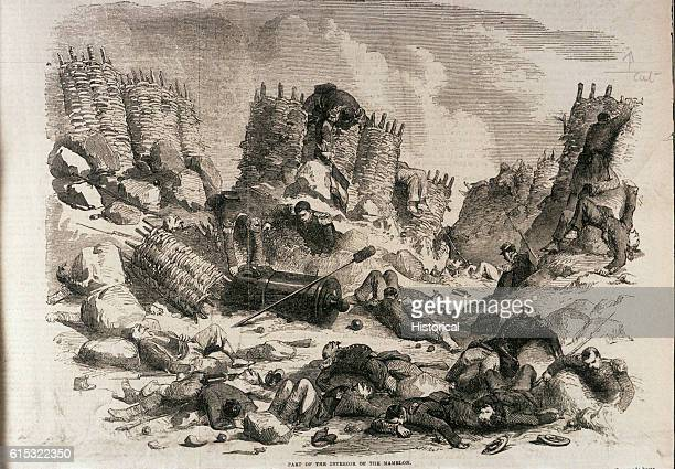 The scene in the interior of the Mamelon after the French stormed it on the evening of the 7th of June 1855