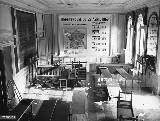 The scene in the Ministry of the Interior in Paris after a nationwide referendum on constitutional reform and regional reorganisation 27th April 1969...