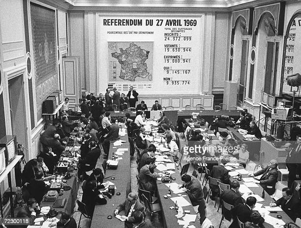 The scene in the Ministry of the Interior in Paris during a nationwide referendum on constitutional reform and regional reorganisation 27th April...