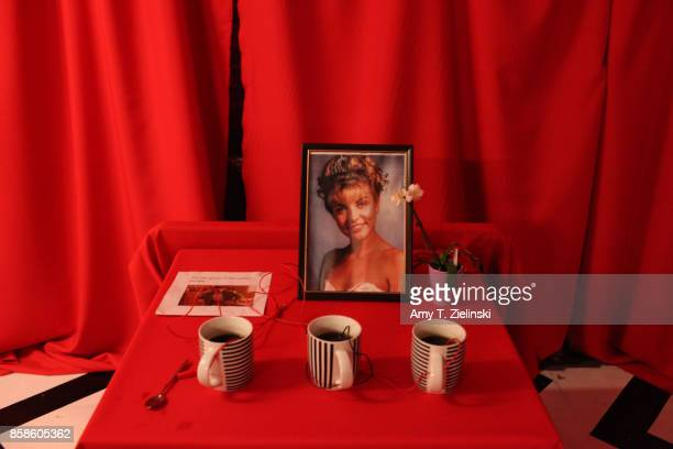 The scene is set in the red room with an image of 'Laura Palmer' to welcome fans during the Twin Peaks UK Festival 2017 at Hornsey Town Hall Arts...