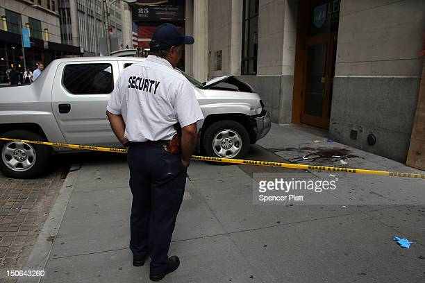 The scene of a deadly truck crash in the financial district on August 23 2012 in New York United States The afternoon accident which happened just a...