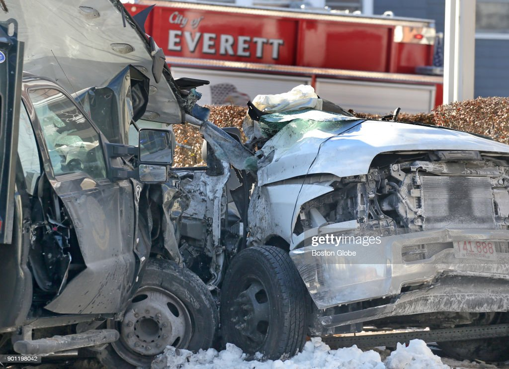 The scene of a fatal accident on Broadway in Everett, MA is pictured