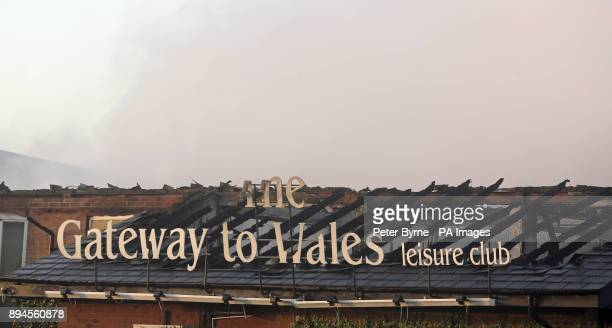 The scene of a fire at the Gateway to Wales Hotel in Deeside