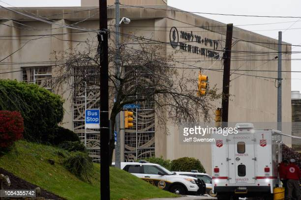The scene of a mass hooting at the Tree of Life Synagogue in the Squirrel Hill neighborhood on October 27 2018 in Pittsburgh Pennsylvania According...