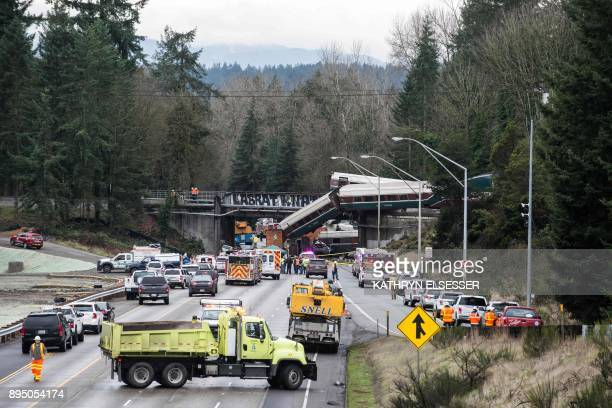 The scene of a portion of the Interstate I5 highway after an Amtrak high speed train derailled from an overpass early December 18 2017 near the city...