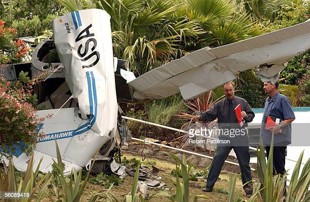 The Scene of a two seater Piper Tomahawk which crashed into a garden in Tennis Court Road Raumati Kapiti Coast at 1pm killing the sole passenger the...