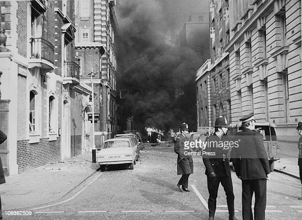 The scene of an IRA car bomb explosion at Great Scotland Yard Whitehall London 8th March 1973 The bombing was part of the IRA's first attacks outside...