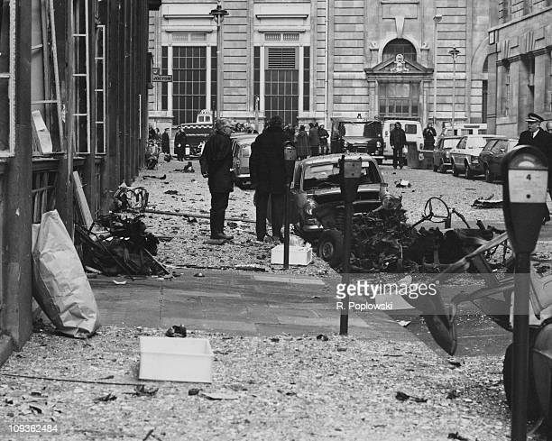 The scene of an IRA car bomb explosion outside government offices at Horseferry House in central London 18th December 1973 The wreckage of the car in...
