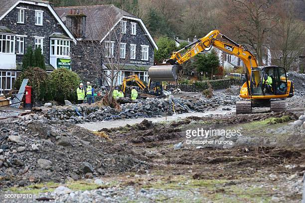 The scene of devastation in the Cumbrian village of Glenridding after the beck broke it's banks for the second time in a week on December 10 2015 in...