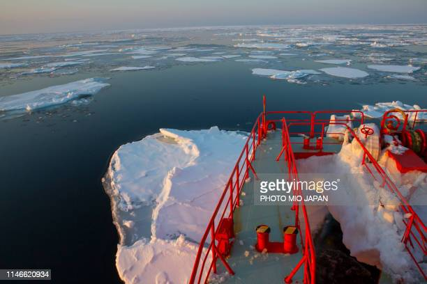 the scene of drift-ices in the sea of okhotsk from icebreaker-ship named garinko. - sea of okhotsk stock pictures, royalty-free photos & images