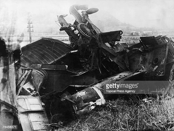 The scene of the Abermule train collision near the village of Abermule Montgomeryshire Wales 26th January 1921 Seventeen people died in the accident...