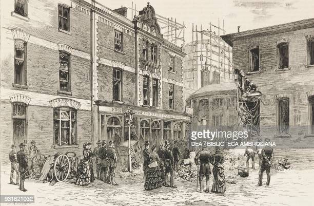 The scene of the explosion in Great Scotland Yard showing the damage done to the offices of the criminal investigation department the Rising Sun...