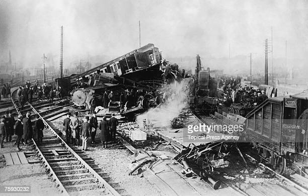 The scene of the Shrewsbury rail accident of 15th October 1907 Eighteen people were killed in the crash when a train from Manchester derailed on the...