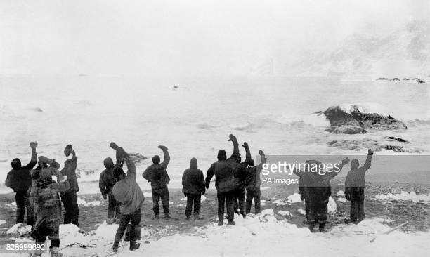 The scene on Elephant Island when at the fourth attempt Sir Ernest Shackleton succeeded in reaching the island and getting off the 22 men whom he had...