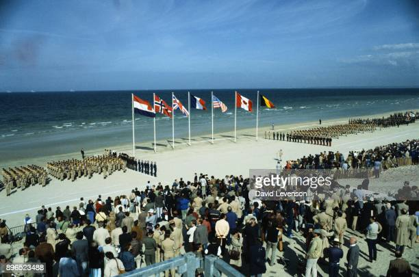 The scene on Omaha Beach at the commemoration ceremony for the 40th Anniversary of DDay on June 6 1984