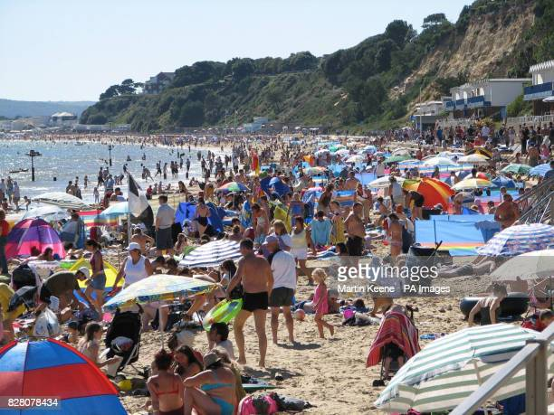 The scene on the beach at Branksome Poole in Dorset Sunday August 28 as blue skies and sunshine brought thousands to the coast to the enjoy the Bank...