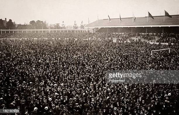 The scene on the pitch at the Olympic Stadium following the abandonment of the football final between Belgium and Czechoslovakia during the Olympic...