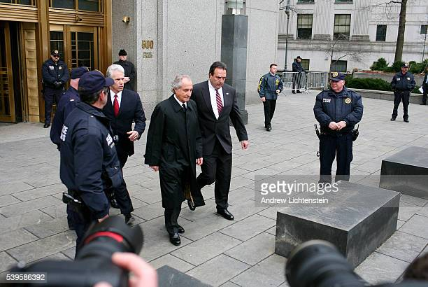 The scene outside of Manhattan's federal court house as Bernie Madoff appears to resolve a procedural issue about his lawyer two days before he is...