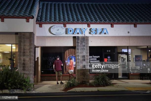 The scene outside Orchids of Asia Day Spa in Jupiter FL where New England Patriots owner Robert Kraft is alleged to have solicited prostitution is...