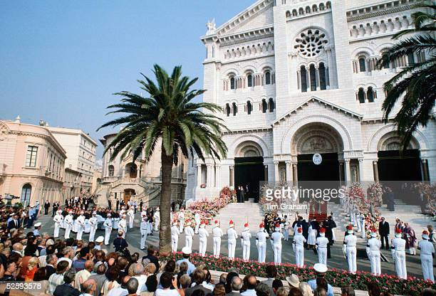 The scene outside the Cathedral during the funeral of Princess Grace wife of Prince Rainier of Monaco in Monte Carlo with soldiers lining the funeral...