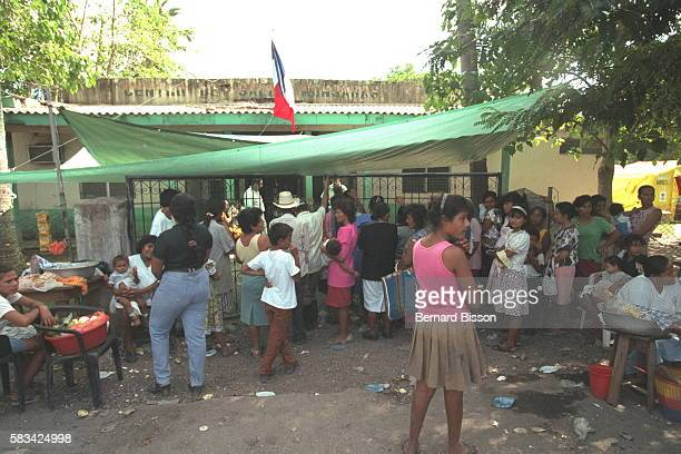 The scene outside the dispensary at Monjaras in the Choluteca region in southern Honduras