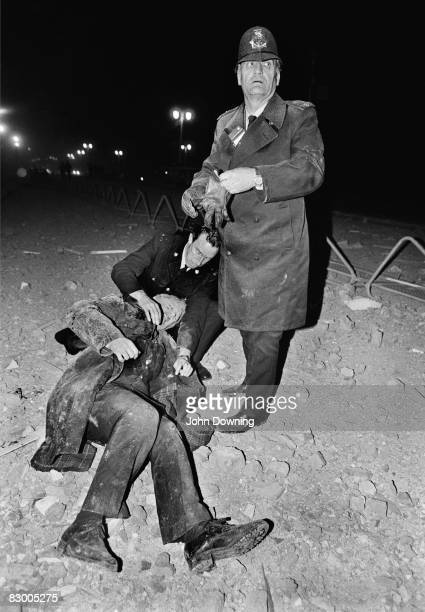 The scene outside the Grand Hotel in Brighton after a bomb attack by the IRA 12th October 1984 British Prime Minister Margaret Thatcher and many...