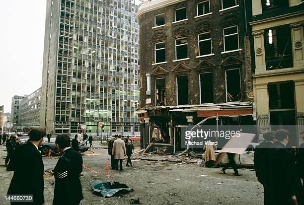 The scene outside the Old Bailey in London after an IRA car bomb exploded killing one person and injuring many 8th March 1973
