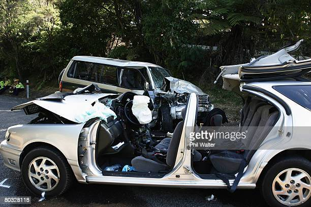 The scene where four people were killed in a road accident near Clevedon March 21 2008 in Auckland New Zealand The deaths which occurred after a...