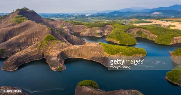 The scenery of Gaoyi Ridge Danxia Landform