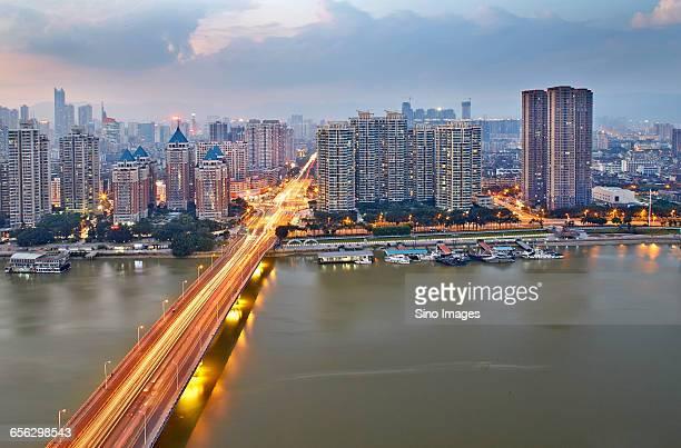 The Scenery of Minjiang Bridge in Fujian at Dusk