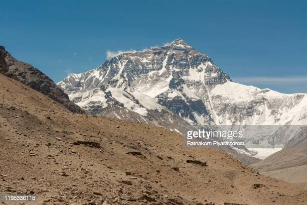the scenery of mountain everest, north face side, view from everest base camp, tibet, china - musica rock foto e immagini stock