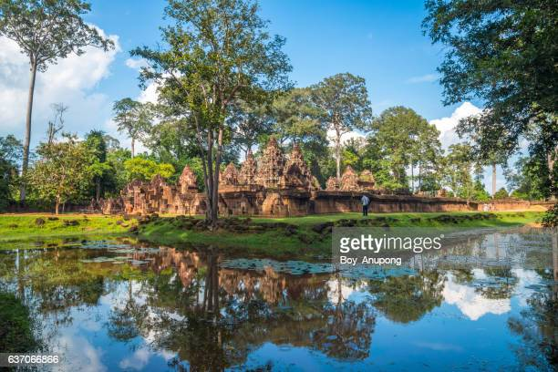 the scenery view of banteay srei the beautiful pink sandstone in siem reap, cambodia. - banteay srei stock pictures, royalty-free photos & images