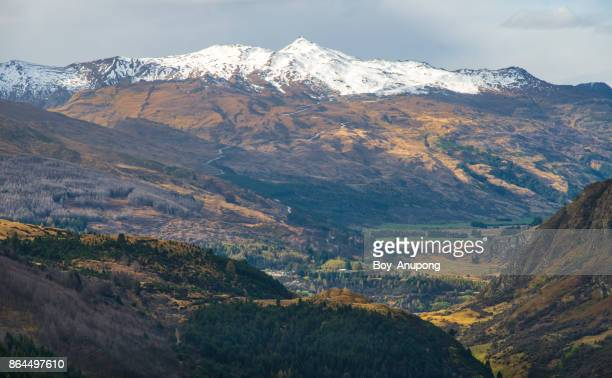The scenery view of Coronet peak in South Island of New Zealand.