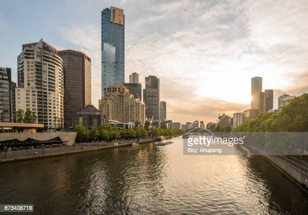The scenery view of Melbourne CBD and Yarra river at sunset.