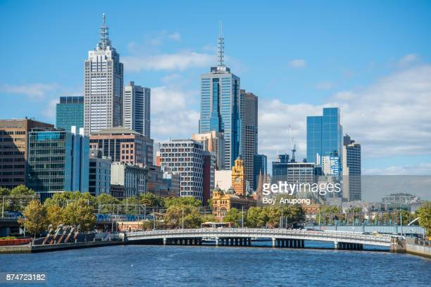 The scenery view of Melbourne CBD and Yarra river in Victoria state of Australia.