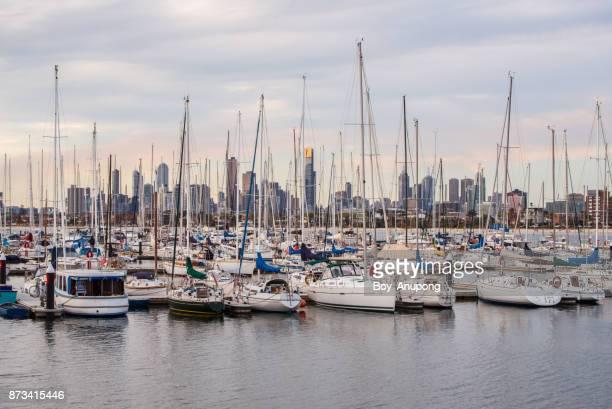 The scenery view of Melbourne cityscape look through St.Kilda pier, Australia.