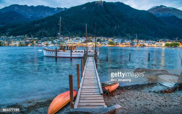 the scenery view of queenstown waterfront view from queenstown gardens. - queenstown stock pictures, royalty-free photos & images