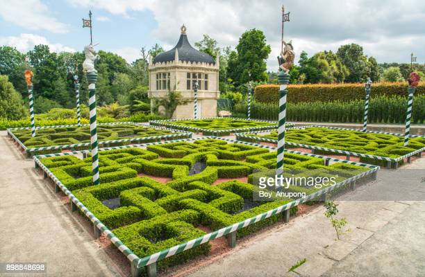 the scenery view of tudor garden in hamilton gardens of new zealand. - hamilton new zealand stock pictures, royalty-free photos & images