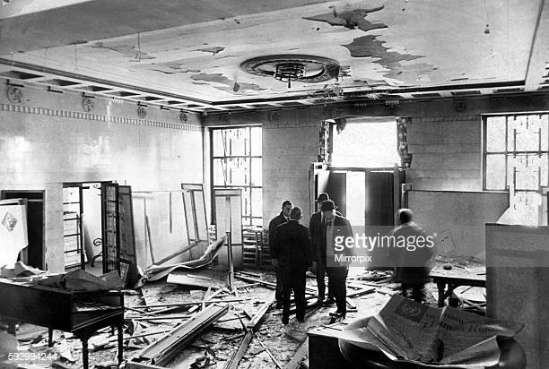 The scenes inside the entrance hall of theTemple of Peace Cardiff after a bomb explosion The building was damaged by a bomb blast amidst a marked...