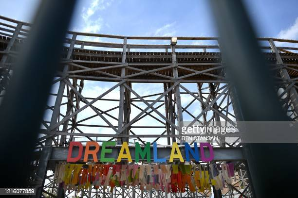 The Scenic Railway a wooden roller coaster opened in 1920 is seen at the Dreamland amusement park in Margate south east England on May 16 following...