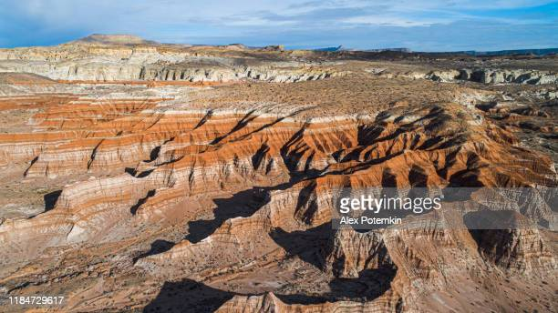 the scenic view of the clay dry canyon near kanab, utah, usa, in the winter sunny day. aerial photo was taken by a drone. - alex potemkin or krakozawr stock pictures, royalty-free photos & images