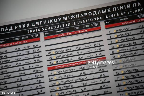 The schedule for departing trains is seen in the hall of Brest central station on 1 June 2017 In the center row departure times are seen for trains...